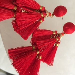 Anthropologie Jewelry - Anthropologie earrings Red tassel earrings